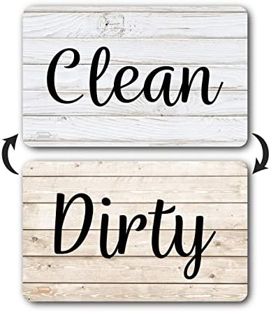 Rustic Wood Clean Dirty Dishwasher Magnet Reversible Dish Washer Sign Double Sided Strong Kitchen product image
