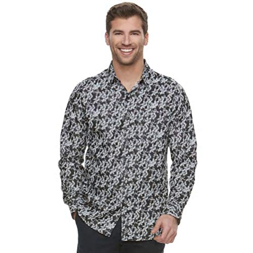 Marc Anthony Dobby Woven Slim Fit Shirt (XXL) Black