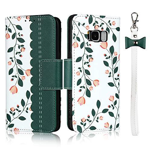 Hülle für Samsung Galaxy S8 Mit Schlüsselband, Premium PU Klapphülle Brieftasche Kartenfächer Handyhülle Stylish Blume Flip Case mit Standfunktion und Magnetverschluss Schutzhülle Passt -Dunkelgrün