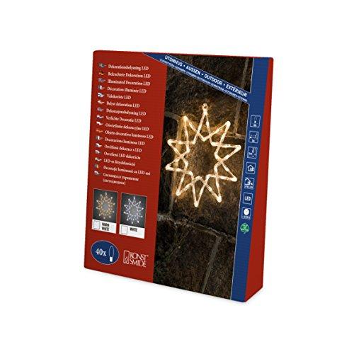 Konstsmide 4482-103 LED Acryl Stern / für Außen (IP44) / 10 Zacken / 40 warm weiße Dioden / 24V Außentrafo / transparentes Kabel