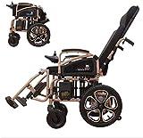 Qianqiusui Las personas mayores con discapacidad plegables silla de ruedas eléctrica, una silla de ruedas eléctrica toda mentira aleación ancianos cuatro dual motor scooter 250W * 2 mayor metal de lit