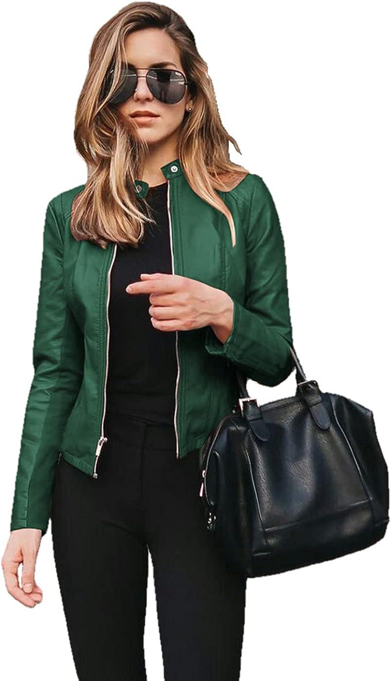 JiangWu Women's Faux Leather Moto Short Coat Full Zip Slim PU Biker Cropped Jacket