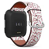 Baseball?Doodle Wallpaper - Patterned Leather Wristband Strap Compatible with Fibit Versa,Replacement for Versa Watch Band