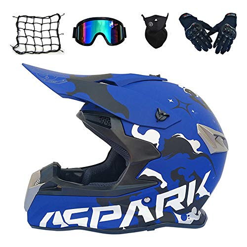 MRDEAR Casco Motocross Adulto Azul, Casco Enduro MTB con Gafas/Máscara/Guantes/Red Elástica (5 Pcs) Casco Cross Descenso Quad Off Road ATV...