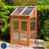HMWD ® Double Door Wooden Mini Greenhouse With poly-carbonate glazing H120xW69xD51 cm