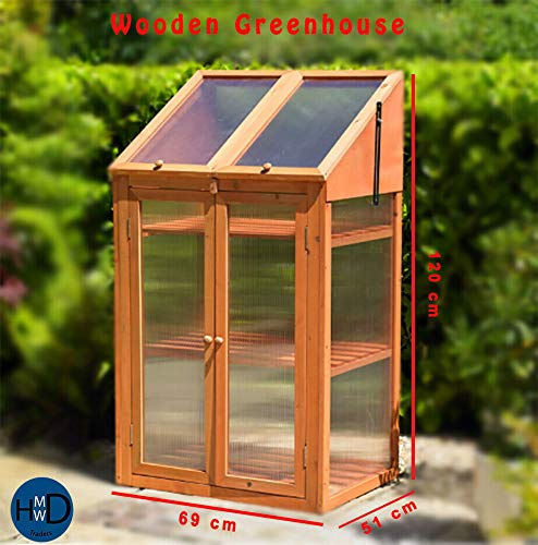 Photo of HMWD ® Double Door Wooden Mini Greenhouse With poly-carbonate glazing H120xW69xD51 cm