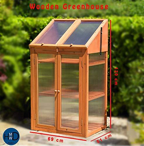 HMWD - Mini Invernadero de Madera con Doble Puerta (acristalamiento de policarbonato, 120 x 69 x 51 cm)
