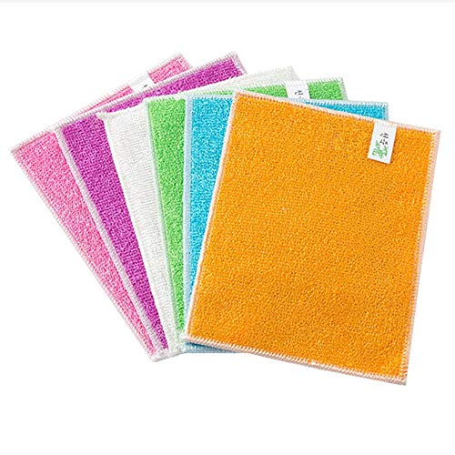 Bamboo Fiber Dish Towel Non-Stick Oil Double Rag Bamboo Charcoal Degreasing Dish Cloth Thickening Scouring Pad 5Pcs
