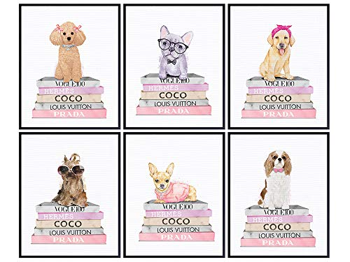 Coco, Prada, LV Wall Decor - Poodle, Yorkie, Yellow Lab, Cavalier King Charles, Chihuahua, French Bulldog Gifts - Glam Wall Decor - Cute Dog Lover Gifts - Puppy Wall Decor - Fashion Design Wall Art