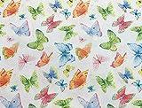 Tela de algodón 100%, diseño de mariposas multicolor sobre