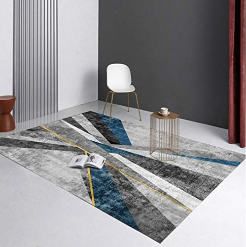 Modern Decorative Gold Thread Printed Carpet Living Room Bedroom Non-Slip Carpet Sofa Coffee Table Exquisite Polyester Carpet60*90Cm