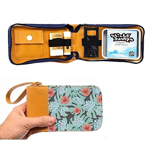 Surf Kit - A Great Surfer Gift & Surf Accessory that Holds your Sticky Bumps Wax, Organic Sunscreen Face Stick, All Natural Lip Balm, and Wax Scraper! All in a Stylish Tropical Print Surf Wax Holder