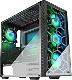 MUSETEX ATX Mid Tower Gaming Computer Case 6 RGB LED Fans 2 Translucent Tempered Glass Panels USB 3.0 Port,Cable Management/Airflow, Gaming Style Window Case (903N4(4PCS RGB Fans))