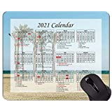Yanteng Gaming Mouse Pad 2021 Year Calendar With Holiday、Beach Palm Trees Summer Mouse Pad With Stitched Edge