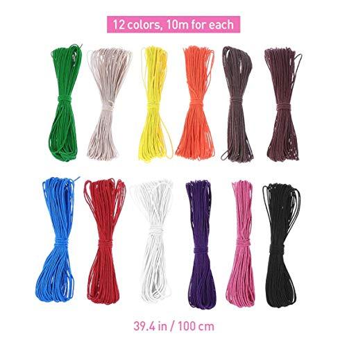 iMiMi bundels 10M 1mm Waxed katoenen koorden touwtjes voor DIY Ketting Armband Craft Making (12 Willekeurige Kleuren)