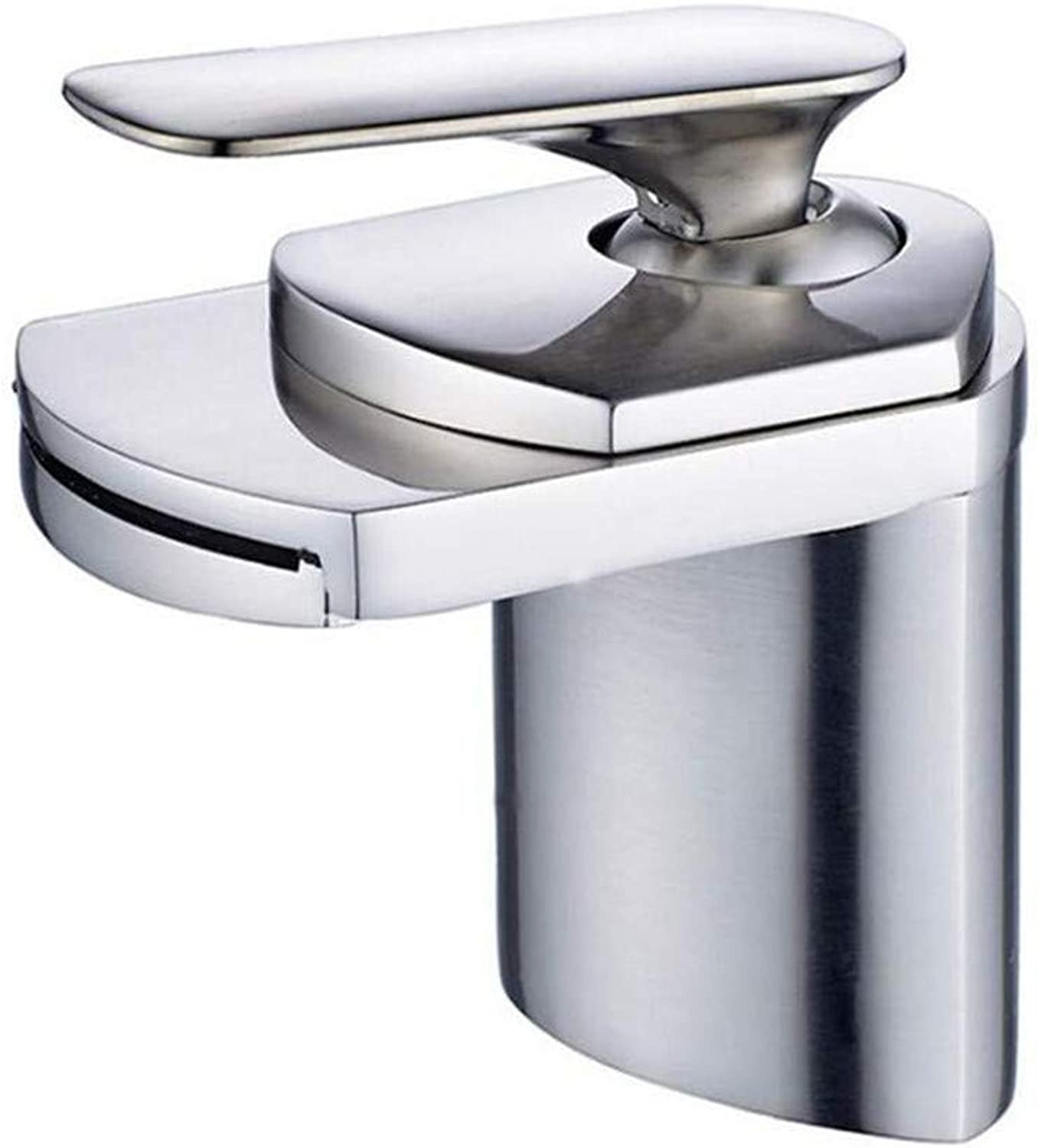 Modern Brass Chrome Hot and Cold Water All Copper Deck Waterfall Basin Mixer Faucet Brush Nickel Width Tank Ship Sink Water Tap