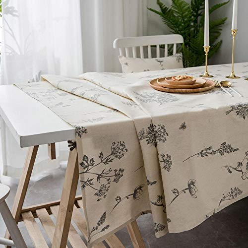 shunzianson beige schets bloemen bedrukte tafelkleden voor eettafel pastorale katoen linnen rechthoekig tafelkleed tuin decoratief tafelkleed 140x260cm Beige bloemen