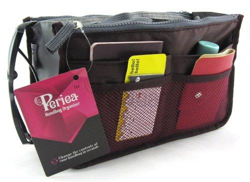 Periea Purse Organizer Insert Handbag Organizer - Chelsy - 28 Colors Available - Small, Medium or Large (Wine, Medium)