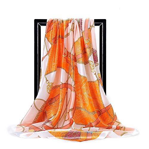 BufandaMujer Chal Bufanda Cuadrada Grande para Mujer, Cadena De Moda, Bufanda De Seda De Simulación, Diadema Hijab para Mujer-1