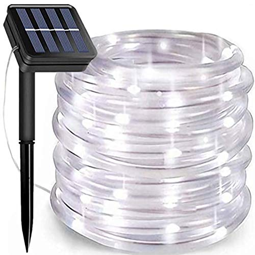 Solar Rope Lights, 66 Feet 200 LED 8 Modes Solar Rope String Lights Outdoor Fairy Lights Rope Waterproof Tube Lights with Solar Panel for Outdoor Indoor Home Decoration Garden Patio Parties