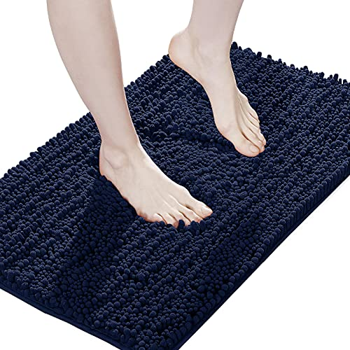 Suchtale Large Bathroom Mat, Non Slip Bath Runner Rug (24x72 Inch Navy Blue) Water Absorbent Super Soft Shaggy Chenille Machine Washable Dry Extra Thick Absorbant Best Plush Carpet for Shower Floor