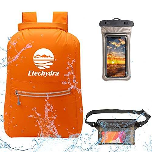 Etechydra Mochila impermeable de bolsa seca, ligera, flotante, con bolsa seca para teléfono y bolsa para mochila para playa, natación, barco, camping y pesca, bolsa seca naranja de 20 litros