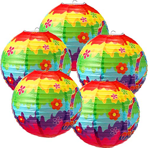 5 Pieces 1960s Hippie Birthday Party Decorations 60's Carnival Groovy Tie Dye Hanging Paper Lanterns for 60's Hippie Theme Party Supplies