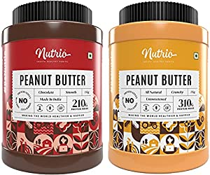 Nutrio 100% Natural Peanut Butter (Crunchy + Chocolate Flavour ) (Unsweetened   1kg+1kg=2kg )(Combo Pack/Pack of 2)