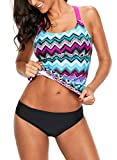 Dokotoo Womens Beach Striped Print Color Block Y Back Athletic Blouson Padded Tankini Bikini Swim Top No Bottom Swimsuit Bathing Suit Swimwear Medium
