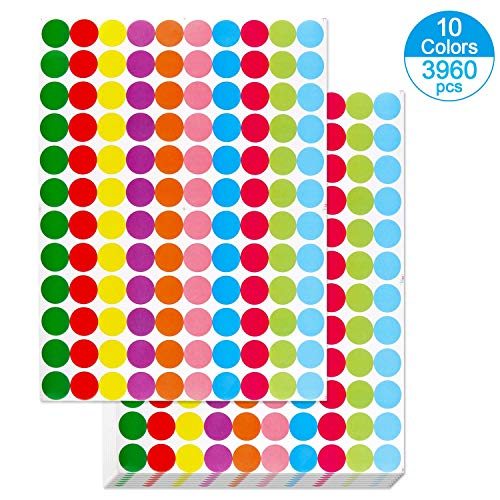 """OUNENO Pack of 3960 3/4"""" Round Color Coding Circle Dot Sticker Labels, 10 Bright Neon Colors, 8 1/2"""" x 11"""" Sheet, Fits Laser/Inkjet Printers"""