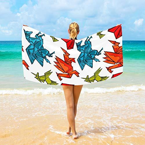 Ahomy Toalla de playa de microfibra - Origami Dragon Unicorn Heart 94 x 188 cm de secado rápido Manta de viaje al aire libre fina Mat personalizada