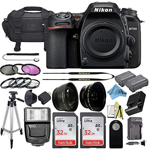 Nikon D7500 20.9MP DSLR Digital Camera Body w/ 3.2 Inch Touchscreen LCD + 2 Pcs SanDisk 32GB Memory Card + Padded Camera Bag + Slave Flash Light + Accessory Bundle (Black)
