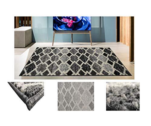Alfombra de Salón Frise Pelo Largo Tupido Rectangulos Geometricos Modernos Color (Gris, 100_x_150_cm)