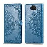 Bear Village Hülle für Sony Xperia 10, PU Lederhülle Handyhülle für Sony Xperia 10, Brieftasche Kratzfestes Magnet Handytasche mit Kartenfach, Blau