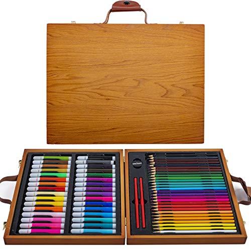 豪華お絵かきセット, KINSANGE 64点 色鉛筆 水彩ペンアートき用品キットとポータブル木製ケース子供向 教育 入学祝 誕生日プレゼントお正月プレゼント