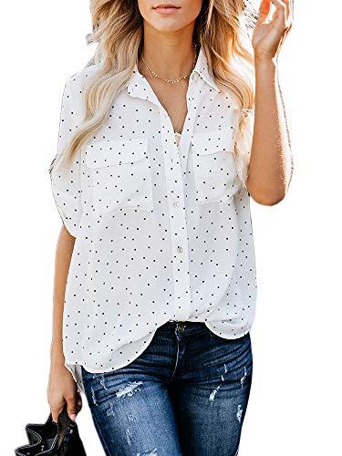 Imily Bela Damen Bluse Kurzarm Elegant Henley Shirt Polka Dot Tunika Basic Shirt Sommer