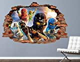 Pegatinas Ninjago Group Battle Brick Wall Decal Smashed 3D Sticker Art Vinyl