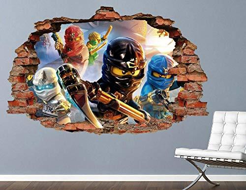 MXLYR Wandtattoo Ninjago Group Battle Brick Wandtattoo Smashed 3D Sticker Art Vinyl
