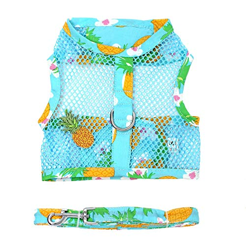 DOGGIE DESIGN Cool Mesh Dog Harness with Leash Pineapple Luau (Small)