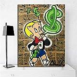 Geiqianjiumai Dollar Ballon Affiche Imprimer Mur Art Toile Photo décoration Image Moderne Peinture à l'huile décoration de la Maison sans Cadre Peinture 48x60 cm