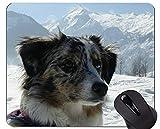 Yanteng Imprimir con Alfombrilla de ratón de Pastor alemán, Alfombrilla de ratón de Goma de Nieve