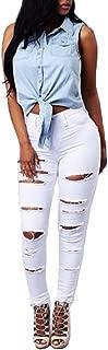 VICVIK High Waist Women Knee Skinny Denim Distressed Ripped Boyfriend Jeans