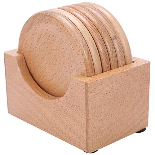 Pceewtyt Tazza da caffè in legno di faggio, rotonda, disco DDmm, in legno massiccio, creativo, piccolo sottobicchiere lavorato a maglia