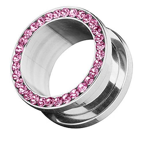 Piercingfaktor Flesh Schraub Tunnel Ohr Plug Ear Piercing Edelstahl Zirkonia Kristall Strass Steinchen Schraubverschluss 4mm Pink