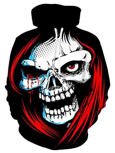 GEFANENR Unisex 3D Druck Hoodie,Rothaarige Skull Männer Frauen Liebhaber Pullover Hoodie Langarm Jacke Pullover Shirt Wild Big Size Neuheit Mantel Mit Kapuze Sweatshirt Mit Tasche,XL