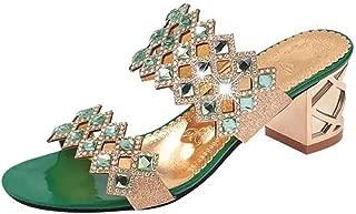 Cosplay-X Women Rhinestone Heel Mules Open Toe Slide Sandals Comfort Low Slip On Dress Pump Shoes