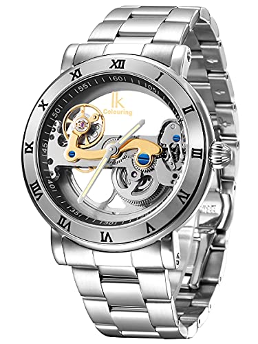 Alienwork IK Reloj Automático Hombre Mujer Plateado Pulsera de Metal Acero Esqueleto