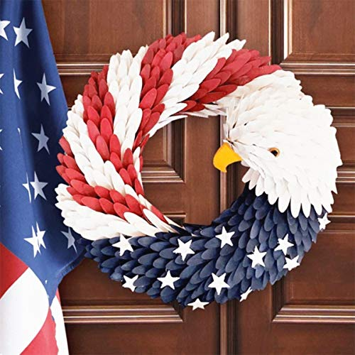 American Eagle Wreath, handcrafted Americana Patriotic Wreath USA July 4th Wreath, American Flag Wreath Garland Floral Door Wreath for Home Front Door Decor Wall Flower Election Vote President (28cm)