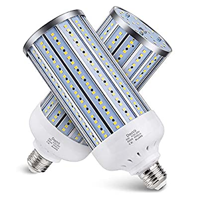 2-Pack DooVii 450W Equivalent LED Corn Bulb,5500 Lumen 6000K,Cool Daylight LED Street and Area Light,E26/E27 Medium Base,for Outdoor Indoor Garage Warehouse High Bay Barn Backyard and More