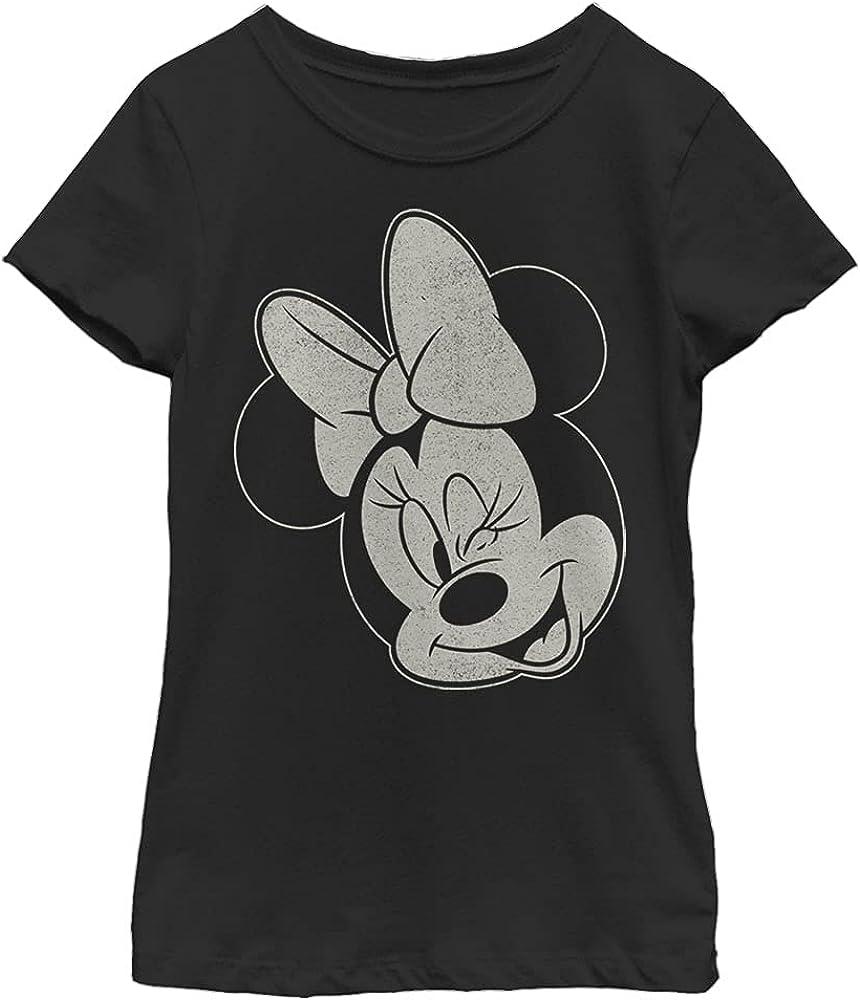 Disney Characters Minnie Wink Girl's Solid Crew Tee